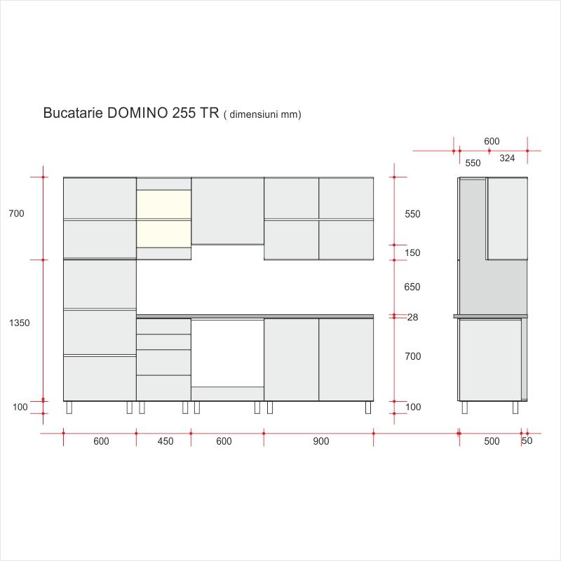 Blaturi Bucatarie Dimensiuni.Mobila Bucatarie Domino 255 Tr Structura Pal Sonoma Fronturi Mdf Gloss Lucios Blat Termic