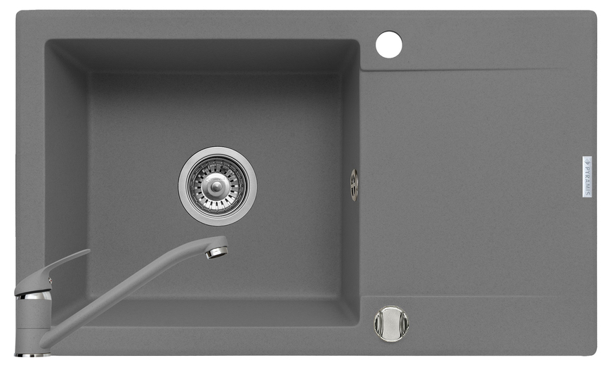 Set chiuveta KORFU 78x46 1B1D & baterie ASALIA - Grey