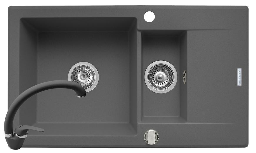 Set chiuveta KORFU 78x46 1 1/2B 1D & baterie OSSIA - Grey