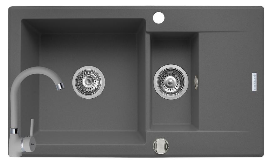 Set chiuveta KORFU 78x46 1 1/2B 1D & baterie BELLO - Grey