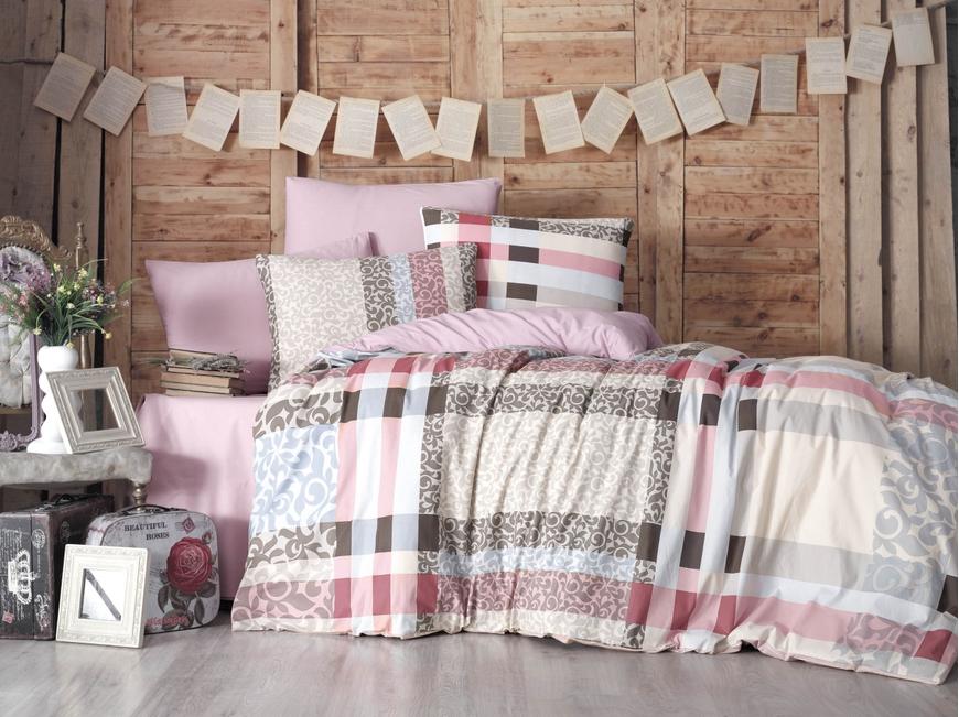 Lenjerie de pat pentru doua persoane, Bande Bedora, 100%  bumbac, 6 piese