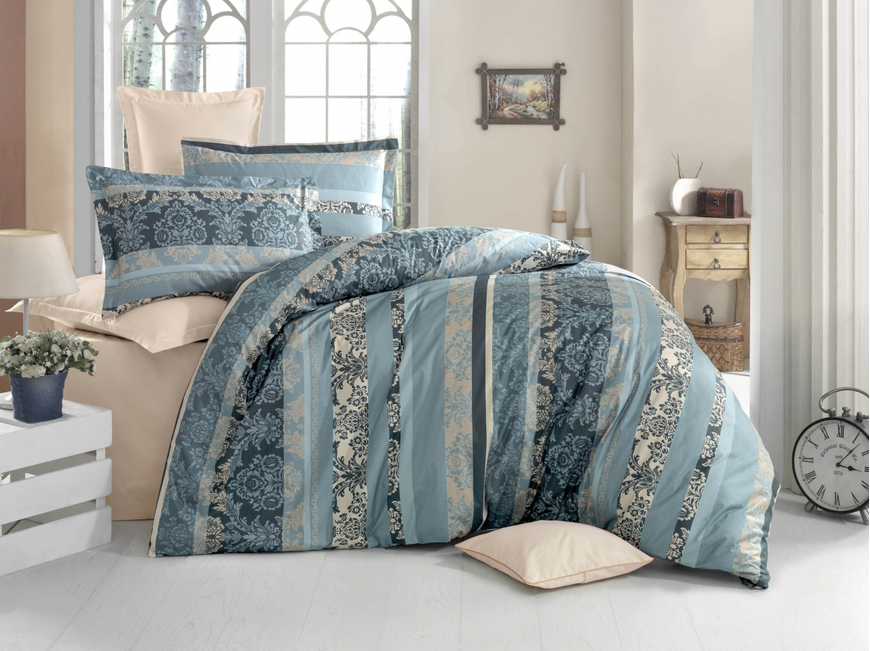 Lenjerie de pat pentru doua persoane, Empereur Bleu Bedora, 100%  bumbac, 6 piese
