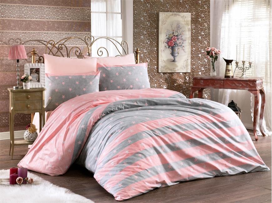 Lenjerie de pat pentru doua persoane, Jeunesse Rose Bedora, 100%  bumbac, 6 piese