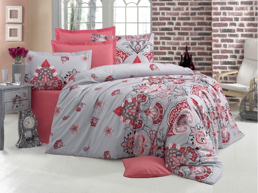 Lenjerie de pat pentru doua persoane, Mensonge  Bedora, 100%  bumbac, 6 piese