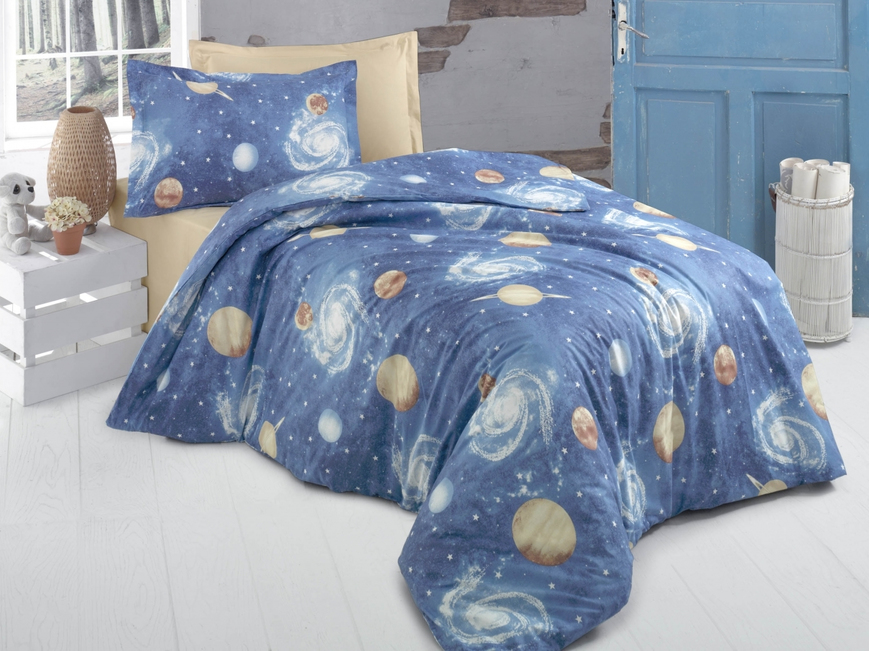Lenjerie de pat pentru o persoana, Galaxie Bedora, 100%  bumbac,3 piese