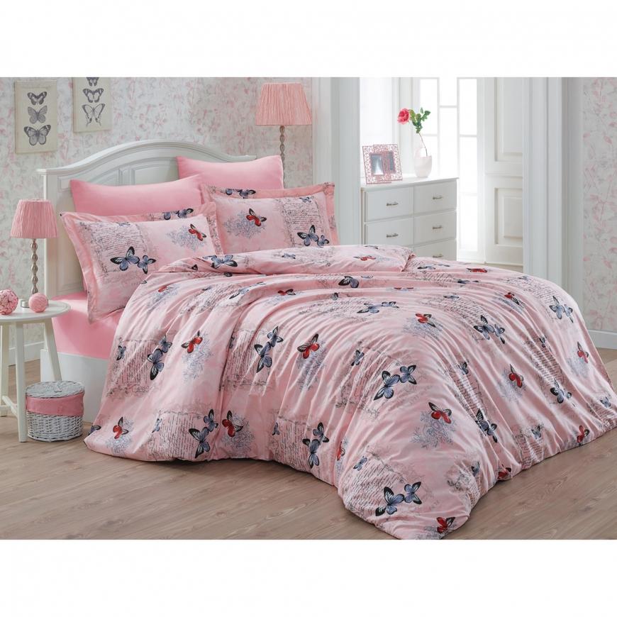 Lenjerie de pat dubla Papillon Bedora, 240 x 240 cm, 6 piese, 100% bumbac, roz