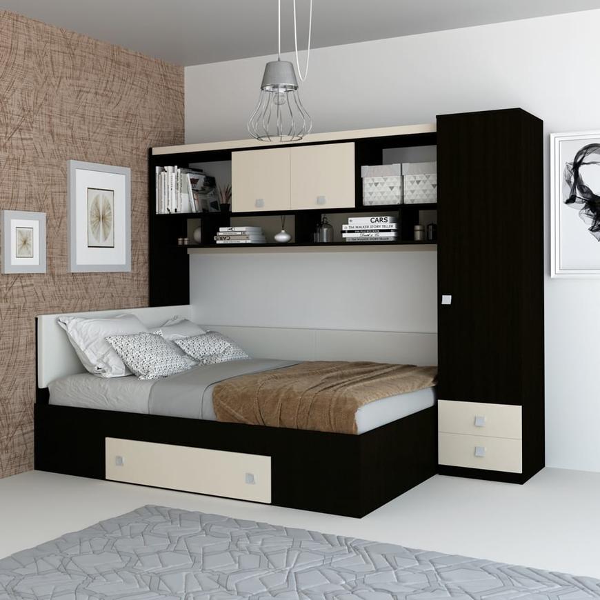 Dormitor pe colt ALTEA, Wenge, Vizon
