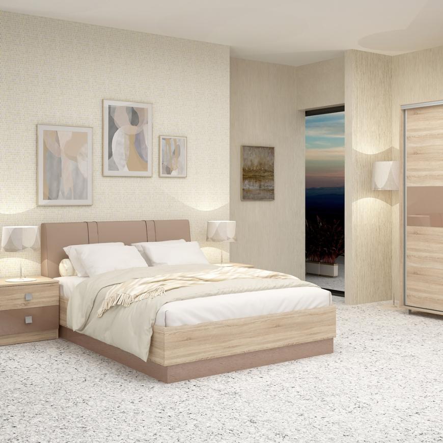 Dormitor complet MIRANO, pat matrimonial cu tablie tapitata, dulap usi culisante, 2 noptiere cu sertare, Sonoma, Cappuccino Gloss