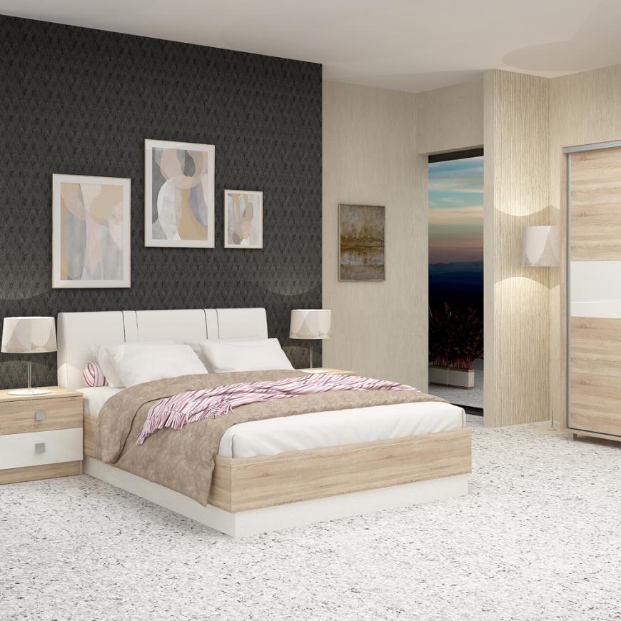Dormitor complet MIRANO, pat matrimonial cu tablie tapitata, dulap usi culisante, 2 noptiere cu sertare, Sonoma, Alb Gloss
