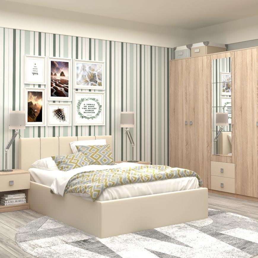 Dormitor complet BELLONA , pat matrimonial tapitat , dulap 5 usi , 2 noptiere cu sertar, Sonoma, Vizon