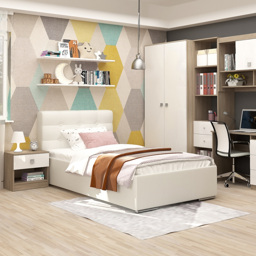 Dormitor copii MODUS, pat tapitat, dulap 2 usi, noptiera cu sertare, Oak, Alb Gloss
