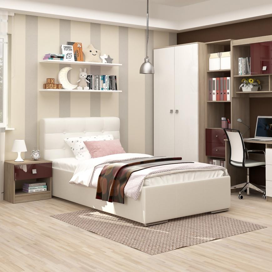 Dormitor copii MODUS 1, pat tapitat, noptiera, ansamblu birou, Oak, Alb, Bordo Gloss