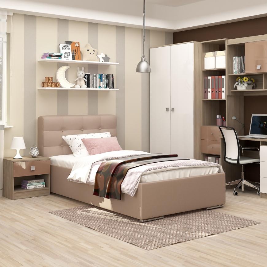 Dormitor copii MODUS 1, pat tapitat, noptiera, ansamblu birou, Oak, Alb, Capuccino Gloss
