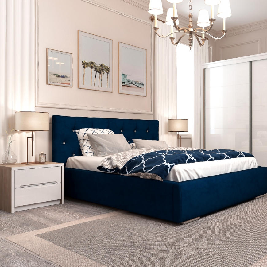 Dormitor MONTELLO Velvet, pat tapitat catifea Blue, dulap usi culisante , noptiere, Oak, Alb Gloss