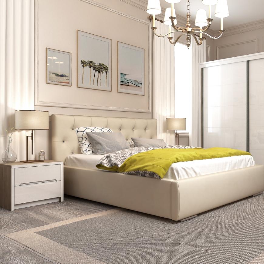 Dormitor MONTELLO Velvet, pat tapitat catifea Sand, dulap usi culisante , noptiere, Oak, Alb Gloss