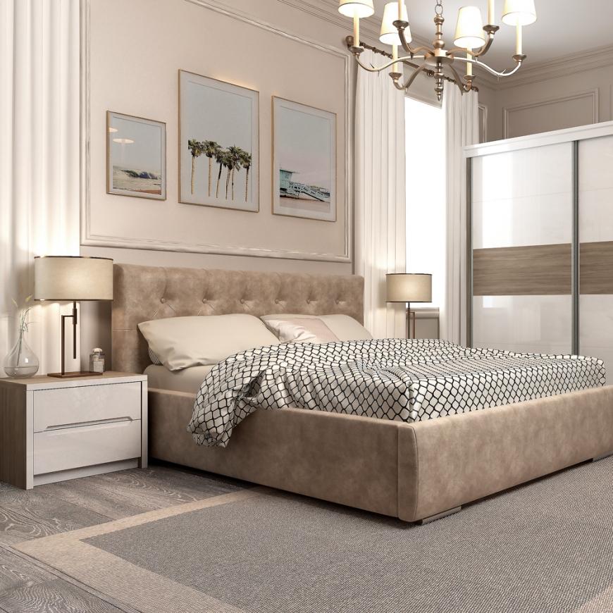 Dormitor MONTELLO, pat tapitat, dulap usi culisante , noptiere, Oak, Alb Gloss