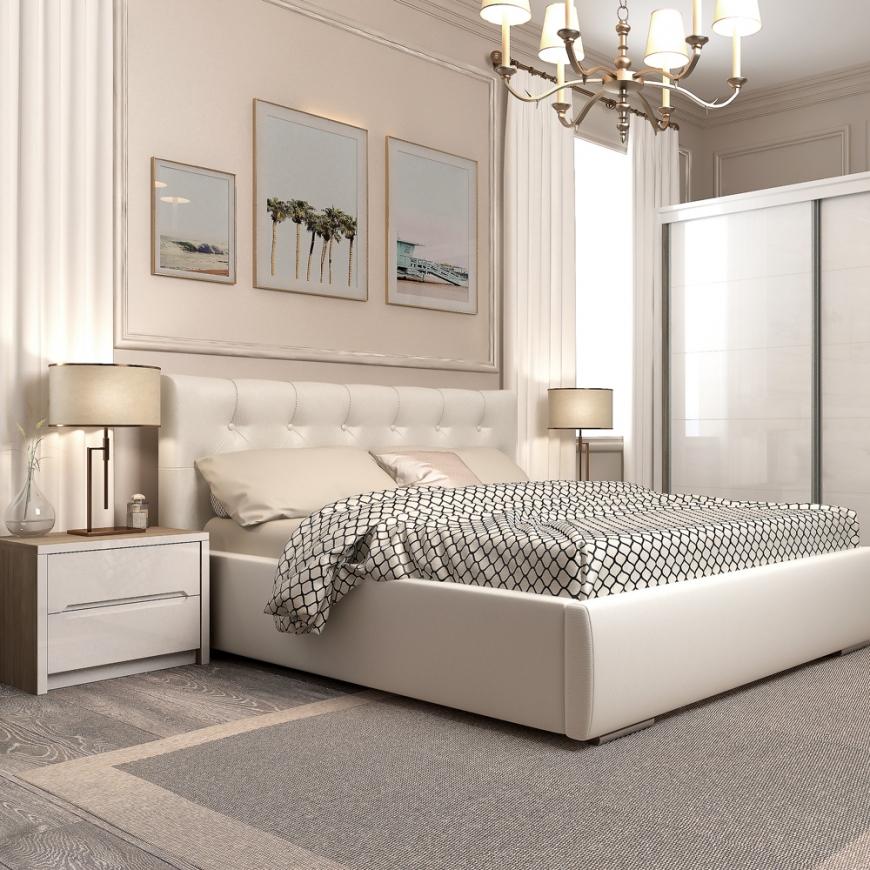 Dormitor MONTELLO, pat tapitat piele eco Alb, dulap usi culisante , noptiere, Oak, Alb Gloss