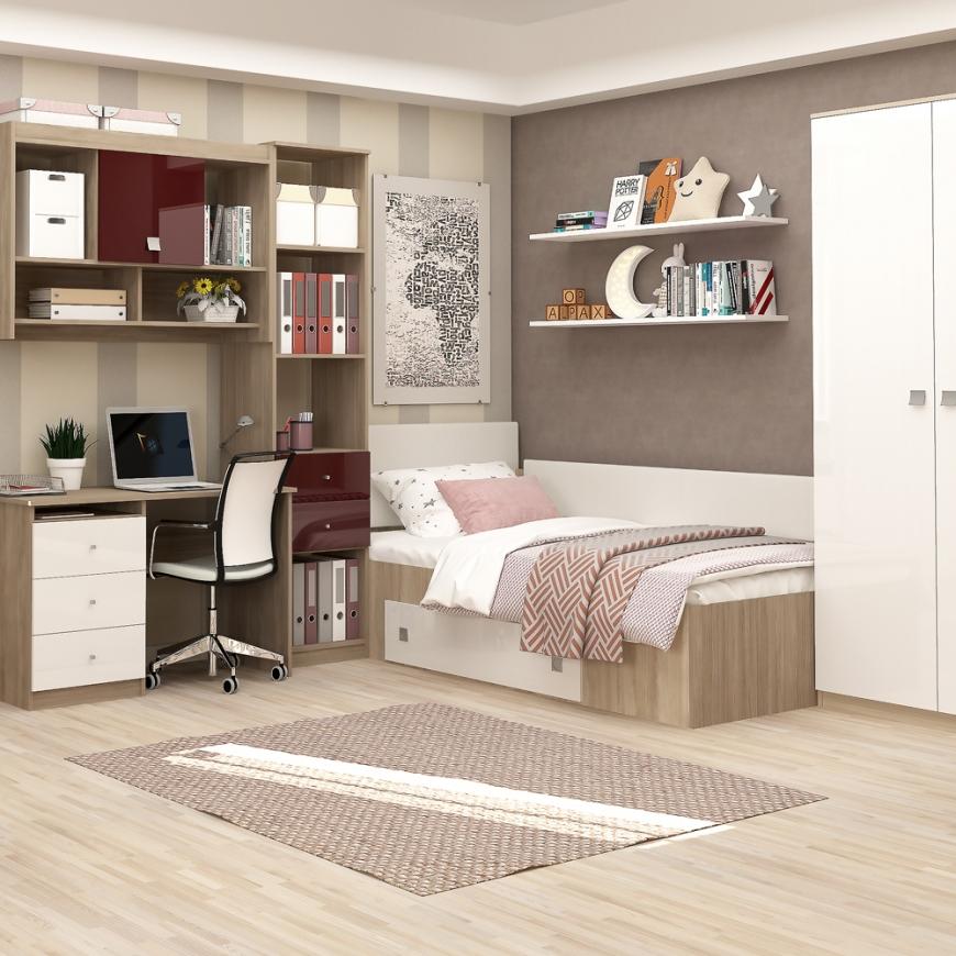 Dormitor copii MODUS 2, pat de colt, ansamblu birou, Oak, Alb, Bordo Gloss