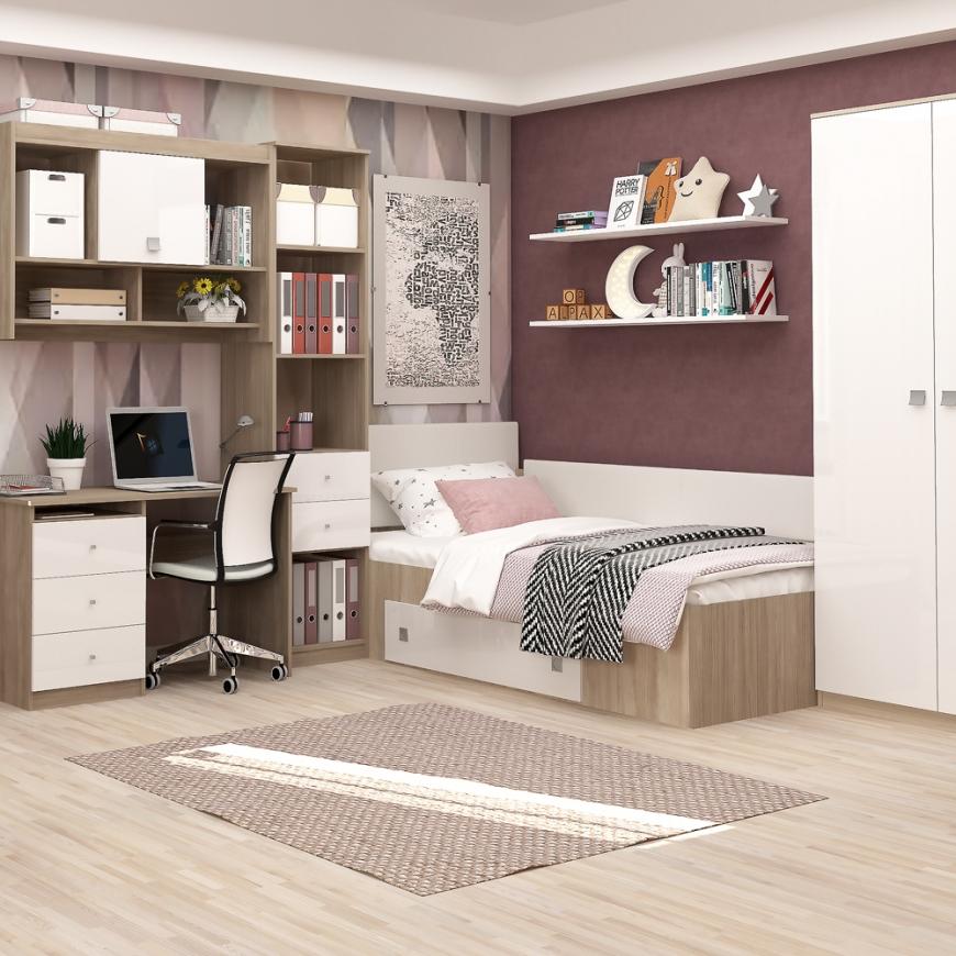 Dormitor copii MODUS 2, pat de colt, ansamblu birou, Oak, Alb Gloss