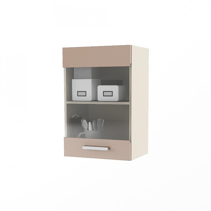 Dulap superior 1 usa cu vitrina STYLE 45, Vizon , MDF Cappuccino Gloss